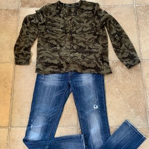 Express jeans and camo top